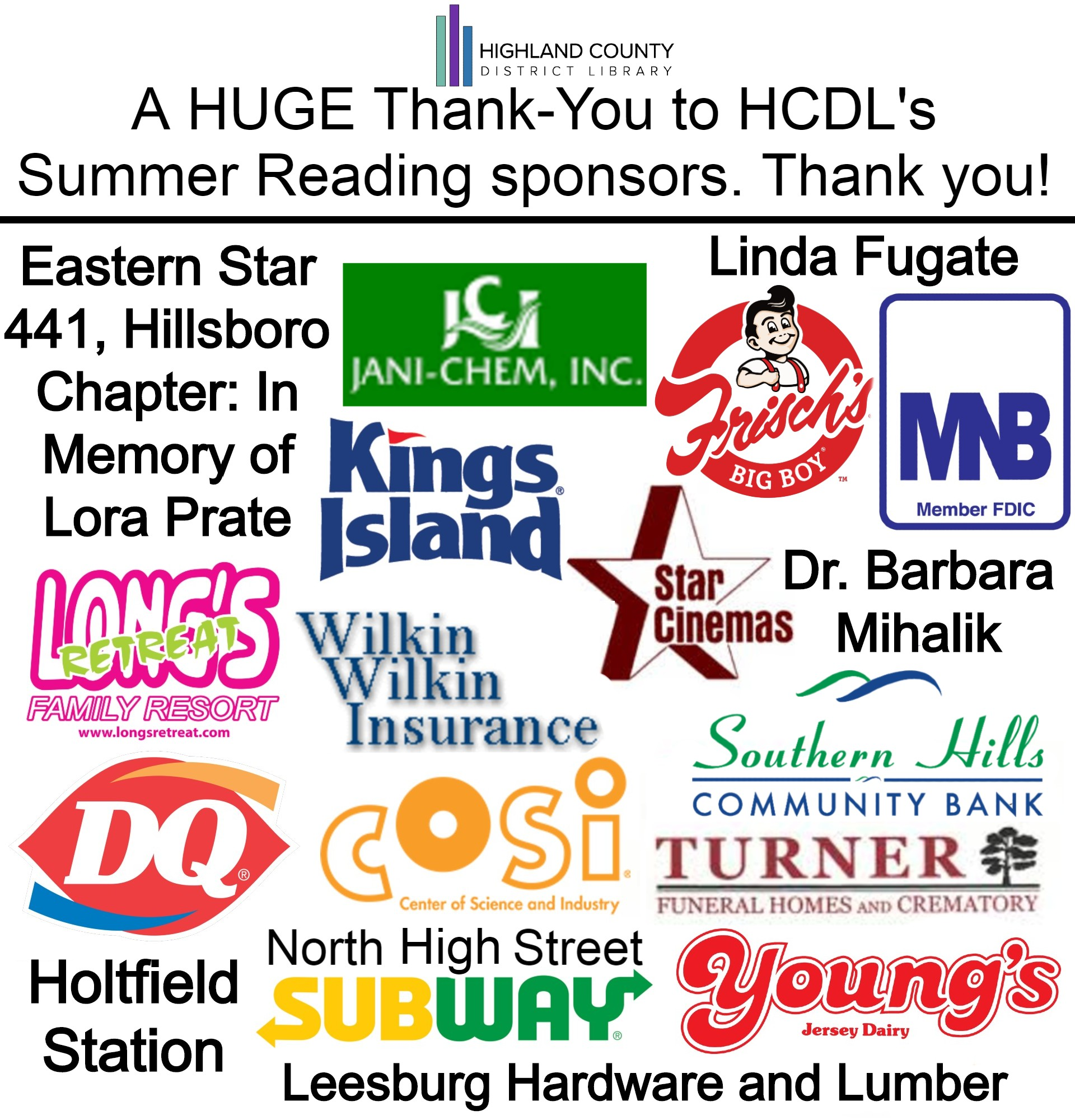 A HUGE thank you to all of our sponsors!